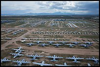 Aerial view of vast field of retired military aircraft. Tucson, Arizona, USA ( color)