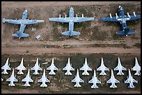 Aerial view of military aircraft. Tucson, Arizona, USA ( color)