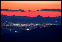 Tucson at sunset from Rincon Mountains. Tucson, Arizona, USA ( color)