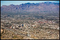 Aerial view of downtown Tucson and mountains. Tucson, Arizona, USA ( color)