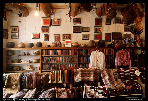 Navajo rugs and designs in the Hubbel rug room. Hubbell Trading Post National Historical Site, Arizona, USA (color)