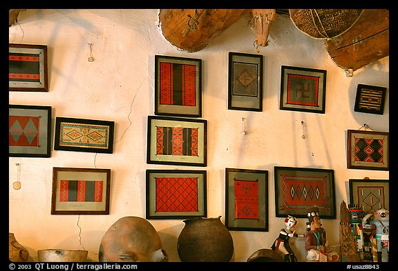 Framed paintings of Navajo rug designs commissioned by Hubbell. Hubbell Trading Post National Historical Site, Arizona, USA (color)