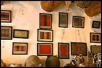 Framed paintings of Navajo rug designs commissioned by Hubbell. Hubbell Trading Post National Historical Site, Arizona, USA