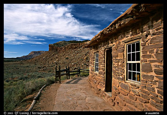 West Cabin and Vermillion Cliffs. Pipe Spring National Monument, Arizona, USA (color)