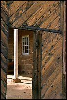Wooden door of Winsor Castle. Pipe Spring National Monument, Arizona, USA