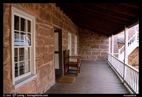 Interior porch of Winsor Castle. Pipe Spring National Monument, Arizona, USA (color)