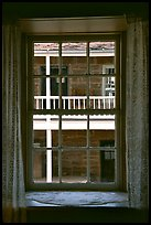 Looking out a window of Winsor Castle into the courtyard. Pipe Spring National Monument, Arizona, USA