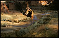 Canyon floor partly lit, seen from Tsegi Overlook. Canyon de Chelly  National Monument, Arizona, USA (color)