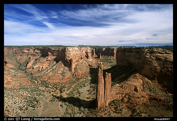 Spider Rock and skies. Canyon de Chelly  National Monument, Arizona, USA (color)