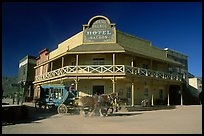 Horse carriage and saloon, Old Tucson Studios. Tucson, Arizona, USA (color)
