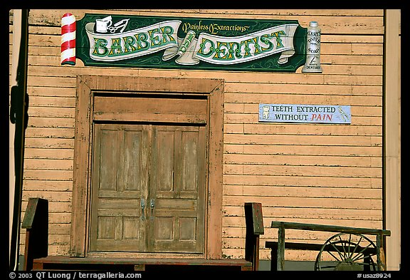 Dentist shop, Old Tucson Studios. Tucson, Arizona, USA (color)