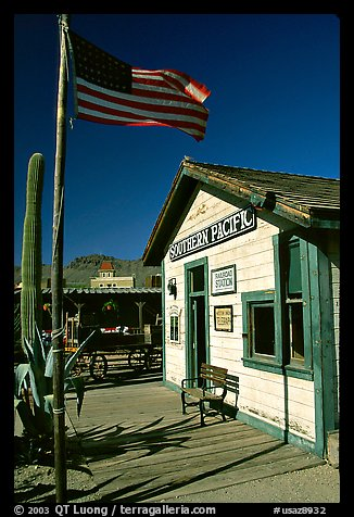 Railroad station, Old Tucson Studios. Tucson, Arizona, USA (color)