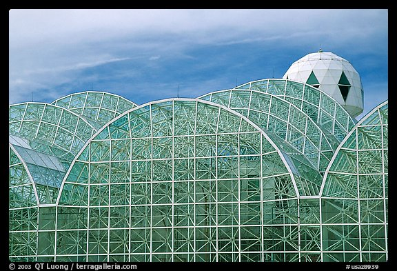 Glass enclusure and tower. Biosphere 2, Arizona, USA