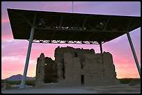 Great house at sunset, Casa Grande Ruins National Monument. Arizona, USA