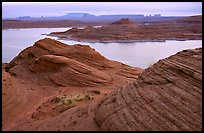 Sandstone Swirls and Lake Powell, Glenn Canyon National Recreation Area, morning. Arizona, USA (color)