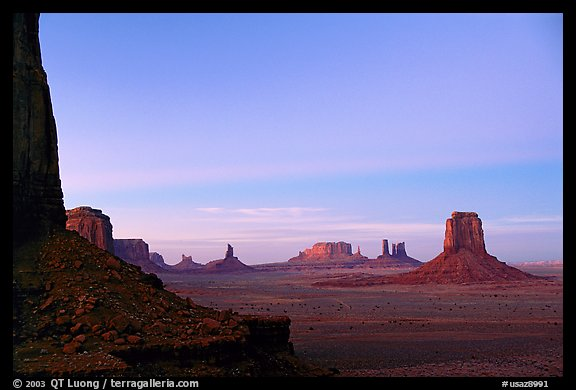 Buttes and Mesas from North Window, dusk. Monument Valley Tribal Park, Navajo Nation, Arizona and Utah, USA (color)