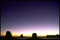 Buttes at dawn. Monument Valley Tribal Park, Navajo Nation, Arizona and Utah, USA (color)