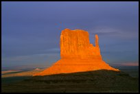 Mitten at sunset. Monument Valley Tribal Park, Navajo Nation, Arizona and Utah, USA
