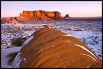 Snowy sunrise. Monument Valley Tribal Park, Navajo Nation, Arizona and Utah, USA