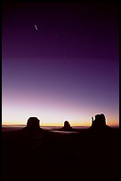 Buttes at dawn with short start trails. Monument Valley Tribal Park, Navajo Nation, Arizona and Utah, USA