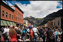 Crowds on main street during Mountain film festival. Telluride, Colorado, USA ( color)