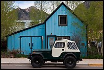Jeep and blue house. Telluride, Colorado, USA
