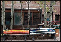 Public benches made of old skis. Telluride, Colorado, USA (color)