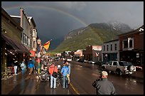 Colorado street with stormy sky and rainbow. Telluride, Colorado, USA (color)