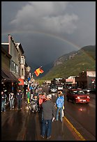 Main street sidewalk and rainbow. Telluride, Colorado, USA (color)
