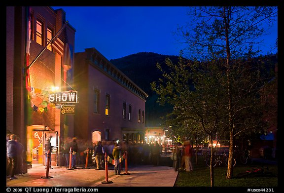 Sheridan opera house entrance by night. Telluride, Colorado, USA (color)