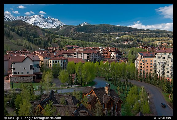 Mountain village, morning. Telluride, Colorado, USA