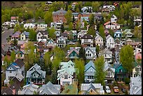 School and houses seen from above. Telluride, Colorado, USA (color)