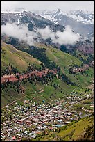 Town in mountain valley. Telluride, Colorado, USA