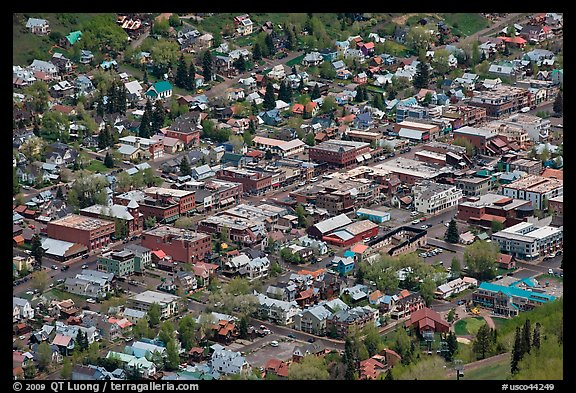 Aerial view of town. Telluride, Colorado, USA (color)