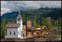Western-style buildings and horses, Ridgeway. Colorado, USA