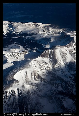Aerial view of Rocky Mountains in winter. Colorado, USA (color)