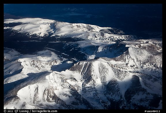 Aerial view of Rocky Mountains with snow. Colorado, USA (color)