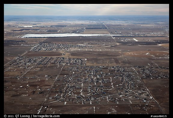 Aerial view of subdivision and plains. Colorado, USA (color)