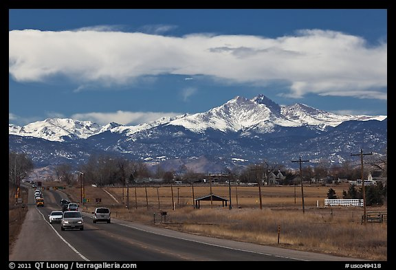 Rocky Mountains from Front Range in winter. Colorado, USA (color)