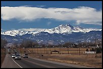 Rocky Mountains from Front Range in winter. Colorado, USA ( color)