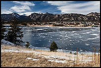 Estes Lake and Estes Park in late winter. Colorado, USA (color)