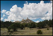 Meadows, rocks, and clouds. Chimney Rock National Monument, Colorado, USA (color)