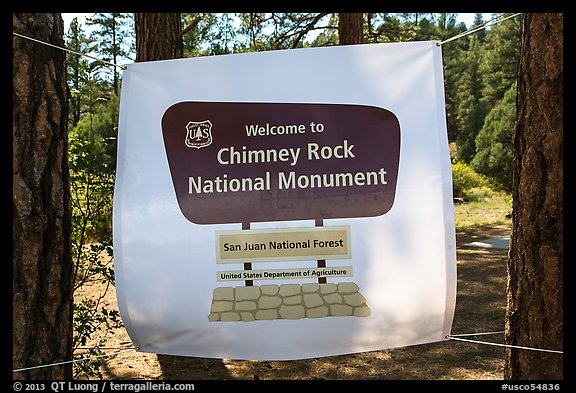 Temporary sign after new designation. Chimney Rock National Monument, Colorado, USA (color)