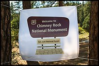 Temporary sign after new designation. Chimney Rock National Monument, Colorado, USA ( color)