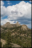 Chimney Rock and Companion Rock. Chimney Rock National Monument, Colorado, USA (color)