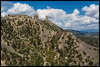 Spires of Cretaceous Period. Chimney Rock National Monument, Colorado, USA (color)