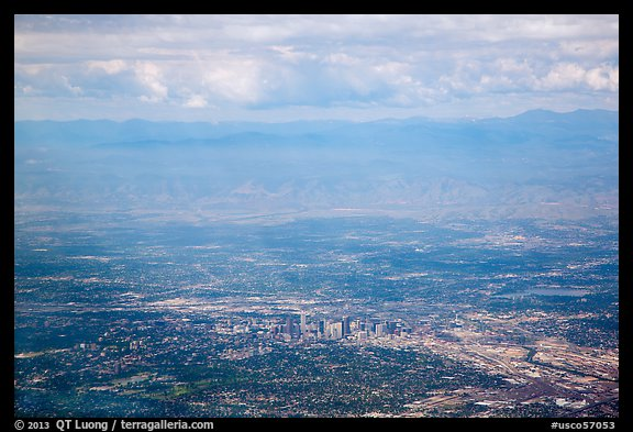 Aerial view of Denver and front range. Colorado, USA (color)