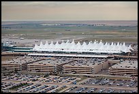 Aerial view of Denver International Airport main concourse. Colorado, USA (color)