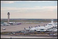 Aerial view of Denver International Airport terminal and control tower. Colorado, USA ( color)