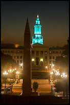 Civic Center Park and Lindsey-Flanigan courthouse at night. Denver, Colorado, USA ( color)